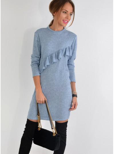 Sukienka sweterkowa z falbanką