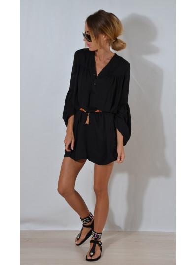 Namarszczana sukienka czerń