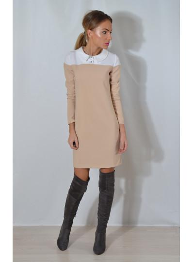 Sukienka z karczkiem jasny beż