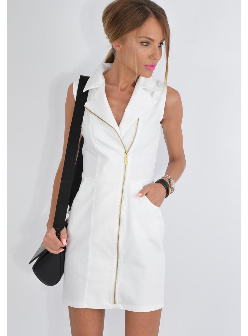 Sukienka jeansowa biała