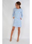 Sukienka chanelkowa błękitno-śmietankowe pasy