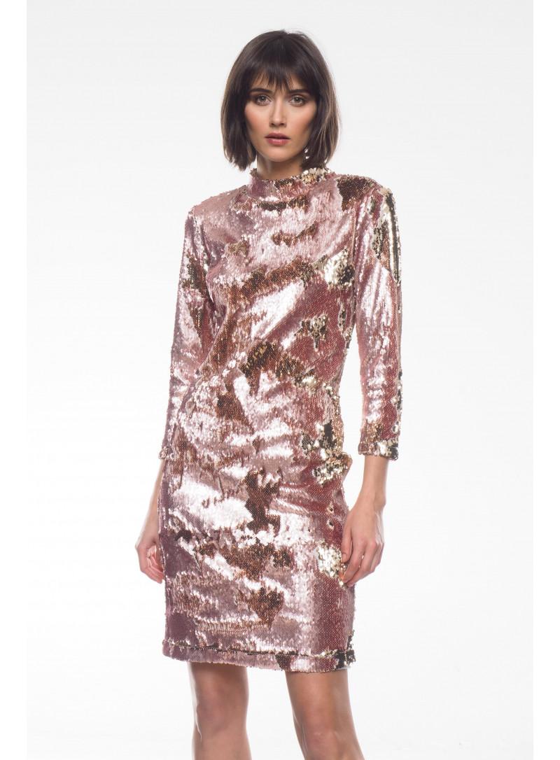 Sukienka z cekinów różowo-złota