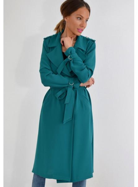 Płaszcz wiosenny zielono-szmaragdowy