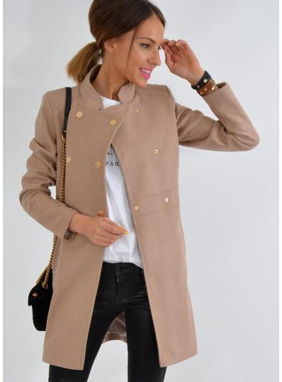 Płaszcz dwurzędowy camelowy beż