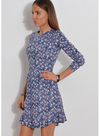 Sukienka w drobne kwiatki niebieska