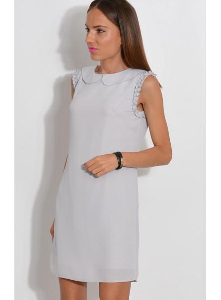 Sukienka z ozdobnymi ramionami szara