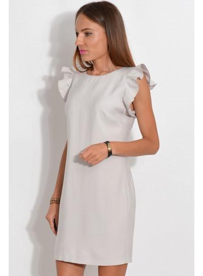 Sukienka motylkowe rękawy szara
