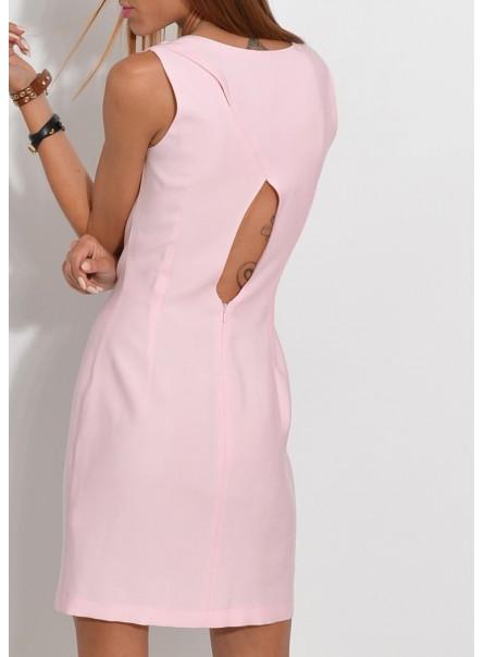 Sukienka z wycięciem na plecach jasny róż