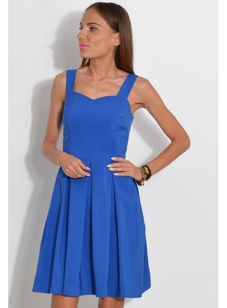 Sukienka z dekoltem w serce chabrowa
