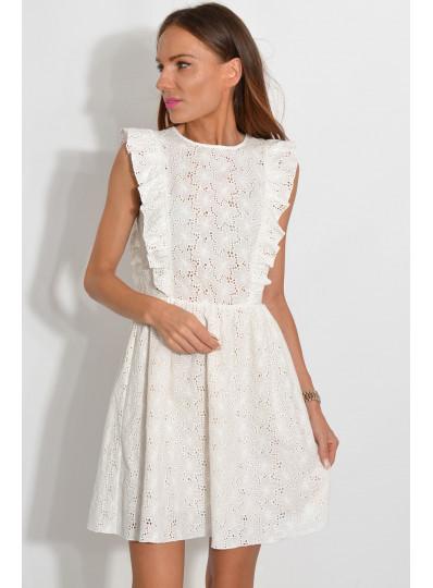Sukienka z batystu śmietankowa
