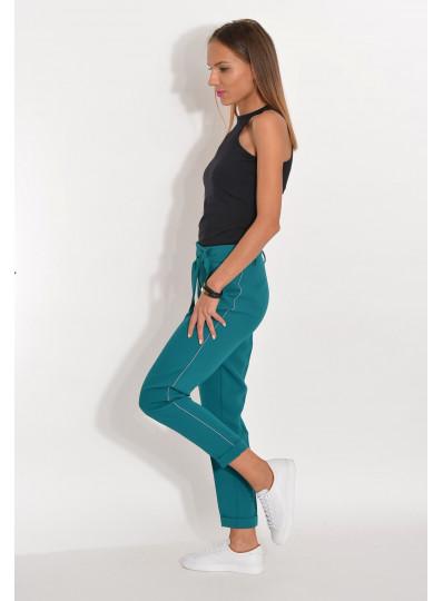 Spodnie z lampasami z lejącej tkaniny na kant szmaragdowe