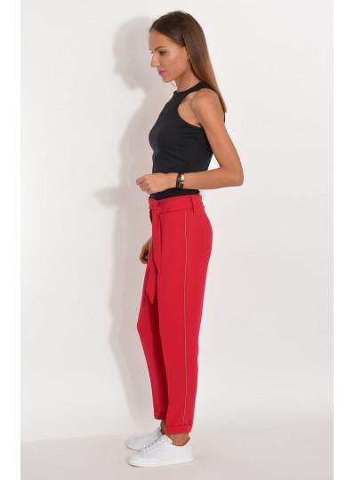 Spodnie z lampasami z lejącej tkaniny na kant bordowe