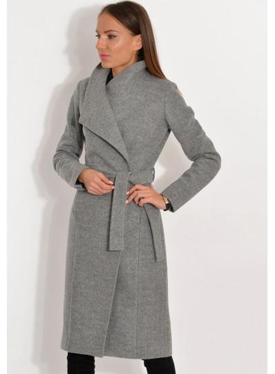 Płaszcz przejściowy zapinany pod szyją. szary melanż