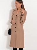 Płaszcz przejściowy z klapami camelowy beż