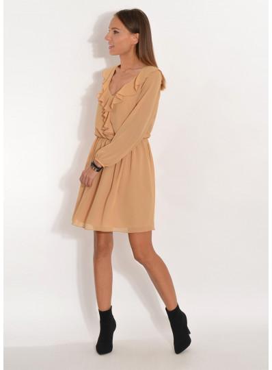 Sukienka szyfonowa z żabotem jasny musztardowy