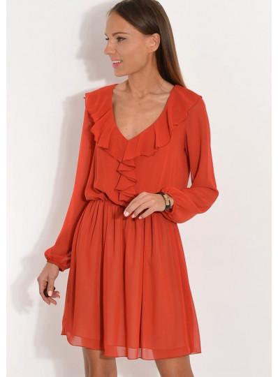 Sukienka szyfonowa z żabotem rudy