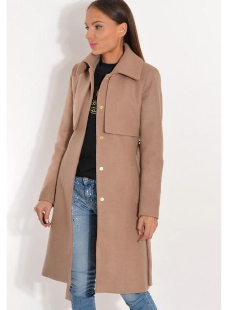 Płaszcz przejściowy z pelerynką camelowy beż