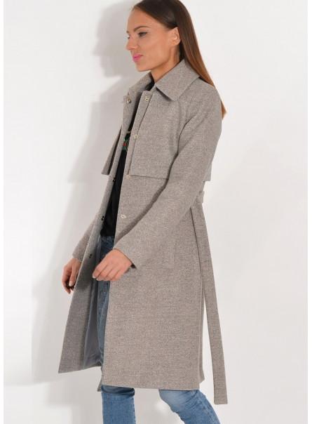 Płaszcz przejściowy z pelerynką szary