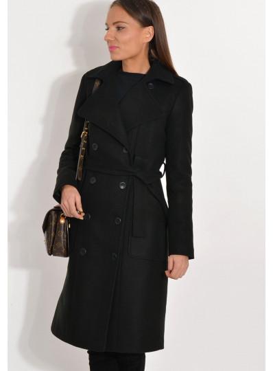 Płaszcz zimowy dwurzędowy czarny