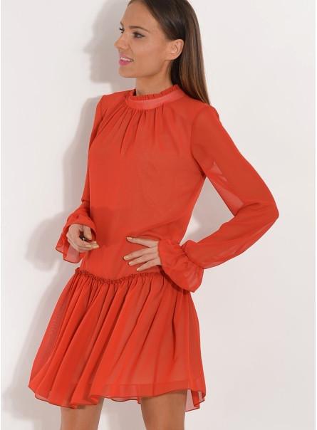 Sukienka szyfonowa z falbanką ruda