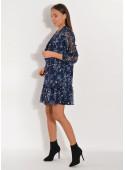 Sukienka szyfonowa z wiązaniem granatowa