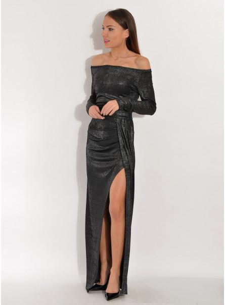 Sukienka maxi czarna srebrna