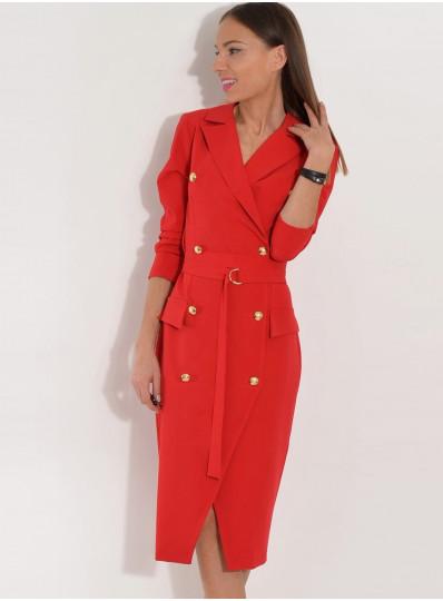 Marynarkowa sukienka z guzikami czzerwona