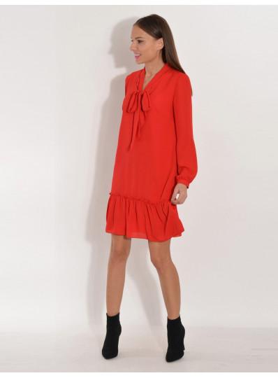 Sukienka szyfonowa z wiązaniem czerwona
