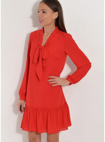 Sukienka z wiązaniem czerwona