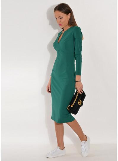 Sukienka dopasowana z dizniny butelkowa zieleń