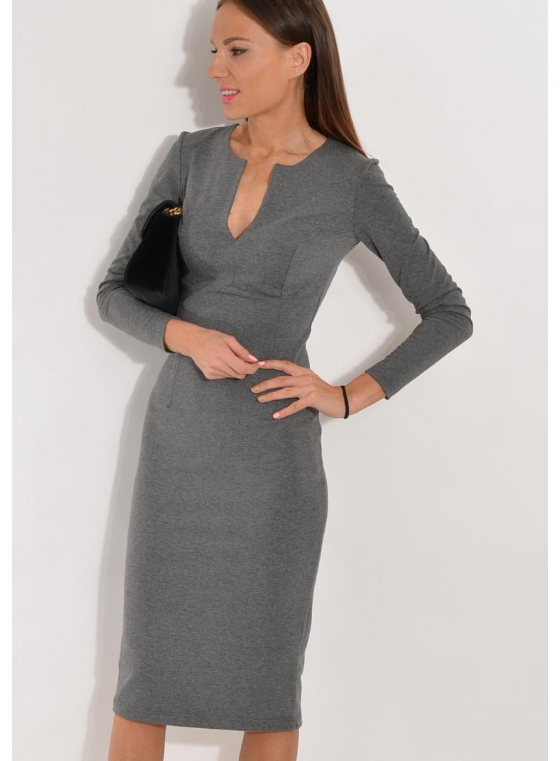 Sukienka dopasowana z dizniny szary melanż