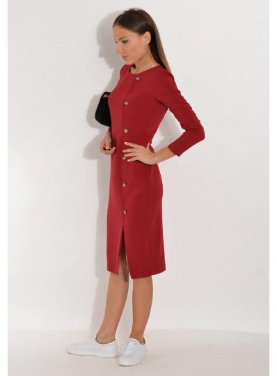 Sukienka dopasowana z guzikami bordowa