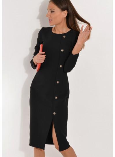 Sukienka dopasowana z guzikami czarna