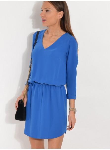 Sukienka w serek chabrowa