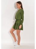Sukienka dzianinowa z falbanką oliwkowa