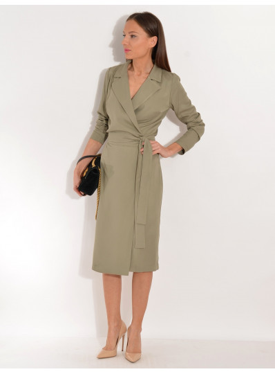 SAFARI Sukienka wiskozowa z paskiem jasny khaki