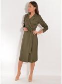 SAFARI Sukienka wiskozowa z paskiem ciemny khaki