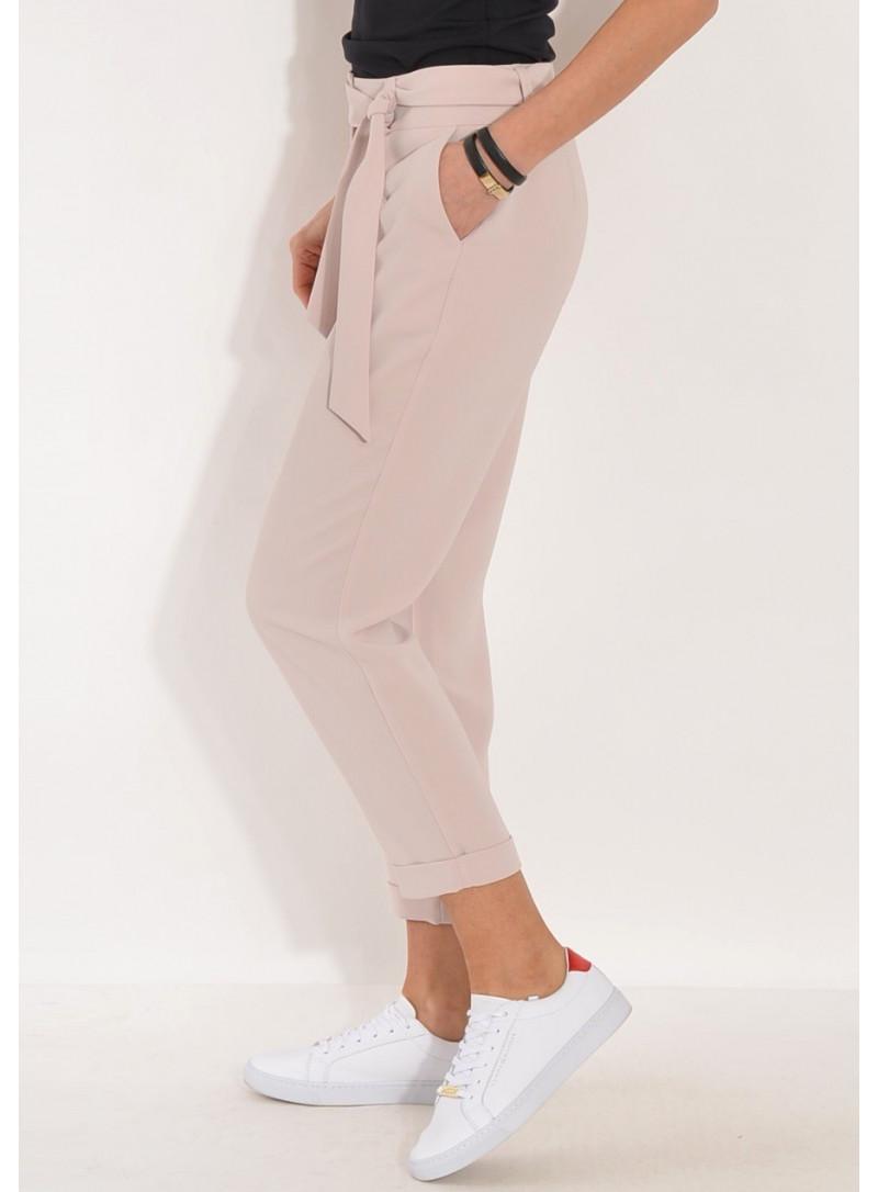 Spodnie z lejącej tkaniny z paskiem beżowe