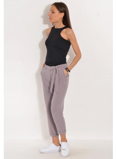 Spodnie z lejącej tkaniny z paskiem szare