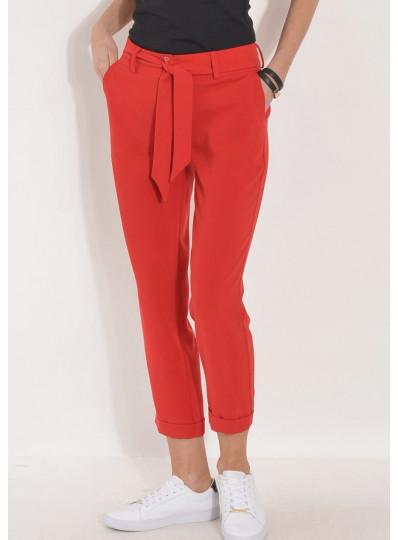 Spodnie z lejącej tkaniny z paskiem czerwone