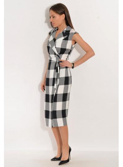 Sukienka w kratę Paula biało-czarna
