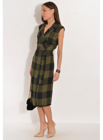 Sukienka w kratę Paula czarno-khaki