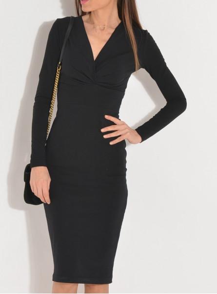 Sukienka dzianinowa Dora z zakładaną górą czarna
