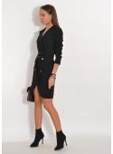 Sukienka zakładana z guzikami czarna