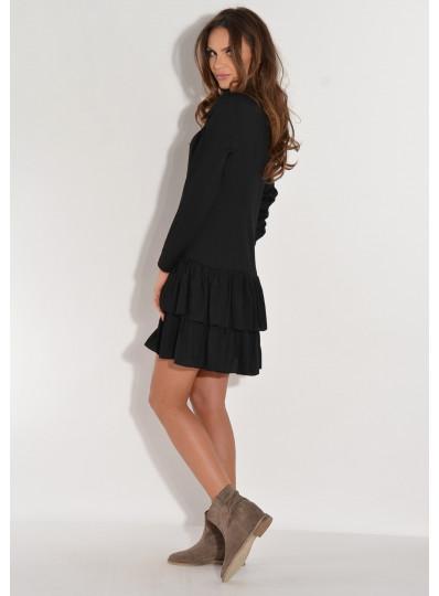 Sukienka ZORA z koszulowym zapięciem czarna