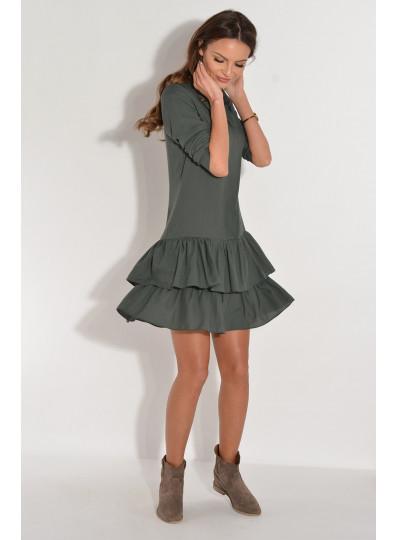 Sukienka ZORA z koszulowym zapięciem ciemna zieleń