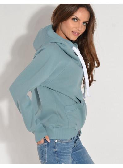 Bluza z kapturem zgaszony błękit