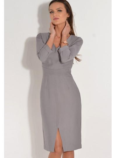 Sukienka z dekoltem v-neck szara