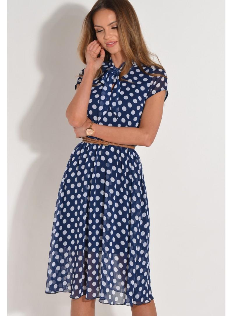 Sukienka w groszki z wiązaniem modna do pracy wizytowa elegancka