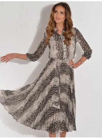 Sukienka MELA z plisowanym dołem